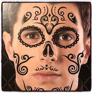 Halloween Waterproof Mask Sugar Skull Tattoo